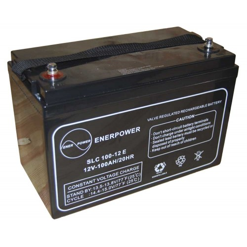 Batteria ermetica sigillata AGM VRLA 12V 100Ah Enerpower SLC 100-12A per ups luci emergenza antifurto allarmi fotovoltaico servizio camper e nautica