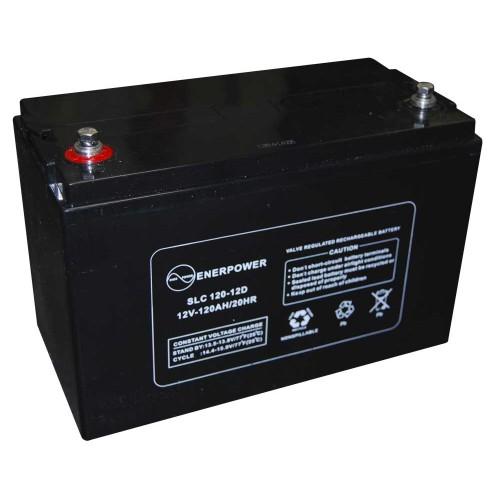 Batteria ermetica sigillata AGM VRLA 12V 120Ah Enerpower SLC 120-12D per ups luci emergenza antifurto allarmi fotovoltaico servizio camper e nautica