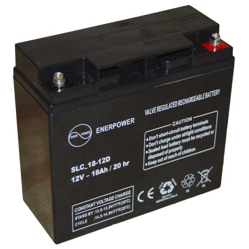 Batteria ermetica sigillata AGM VRLA 12V 18Ah Enerpower SLC 18-12D per ups luci emergenza antifurto allarmi fotovoltaico servizio camper e nautica