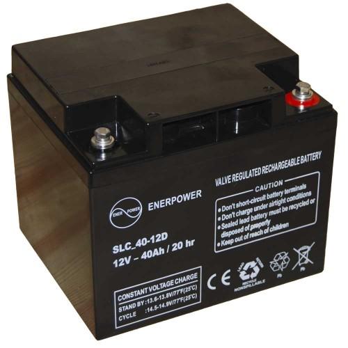 Batteria ermetica sigillata AGM VRLA 12V 40Ah Enerpower SLC 40-12D per ups luci emergenza antifurto allarmi fotovoltaico servizio camper e nautica