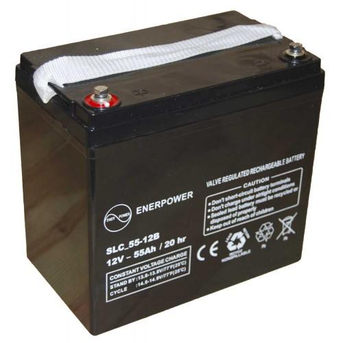 Batteria ermetica sigillata AGM VRLA 12V 55Ah Enerpower SLC 55-12B per ups luci emergenza antifurto allarmi fotovoltaico servizio camper e nautica