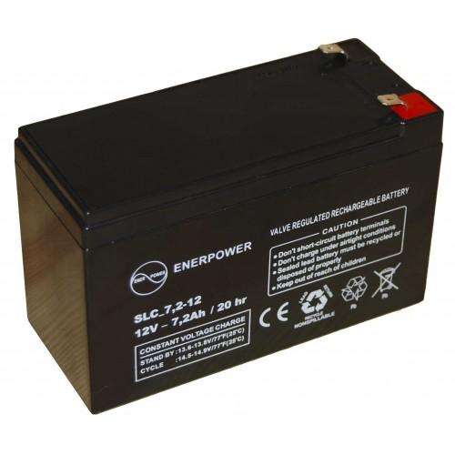 Batteria ermetica sigillata AGM VRLA 12V 7,2Ah Enerpower SLC 7,2-12A per ups luci emergenza antifurto allarmi fotovoltaico servizio camper e nautica