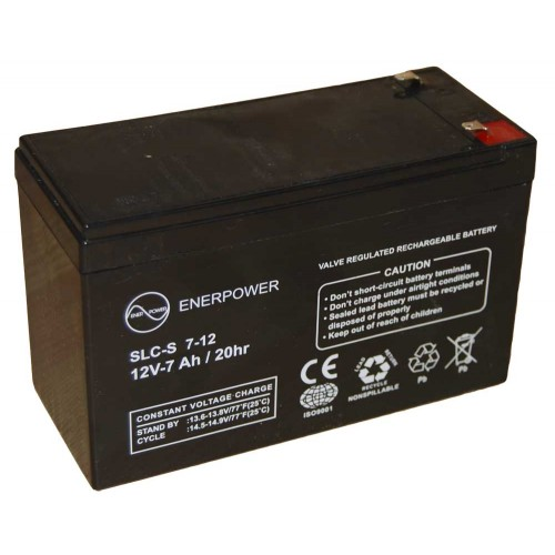 Batteria ermetica sigillata AGM VRLA 12V 7Ah Enerpower SLCS 7-12A per ups luci emergenza antifurto allarmi fotovoltaico servizio camper e nautica