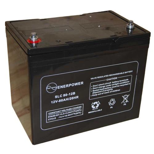 Batteria ermetica sigillata AGM VRLA 12V 80Ah Enerpower SLC 80-12B per ups luci emergenza antifurto allarmi fotovoltaico servizio camper e nautica